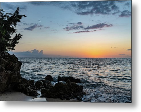 Negril Jamaica Metal Print featuring the photograph Sunset Afterglow In Negril Jamaica by Debbie Ann Powell