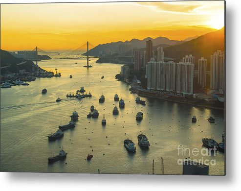 Capital Metal Print featuring the photograph Sunset At Hong Kong Downtown by Coloursinmylife