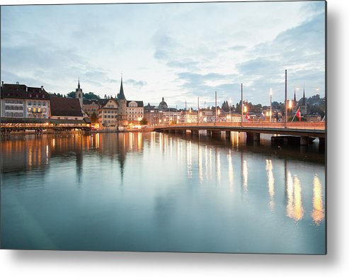 Dawn Metal Print featuring the photograph Switzerland, Lucerne, View Of by Westend61