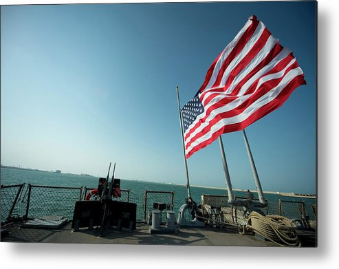 No People Metal Print featuring the photograph The American Flag Flies At Half-mast by Stocktrek Images