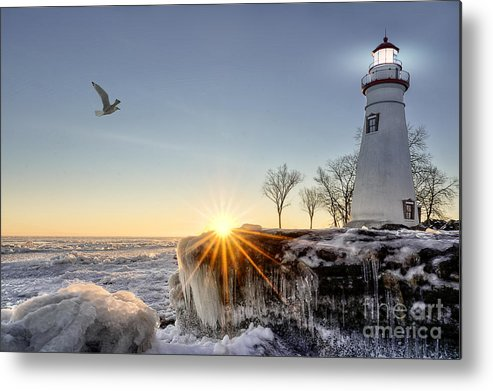 Sunrise Metal Print featuring the photograph The Historic Marblehead Lighthouse In by Michael Shake