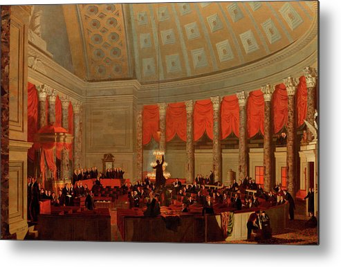 Painting Metal Print featuring the painting The House Of Representatives, 1822 by Samuel Finley Breese Morse