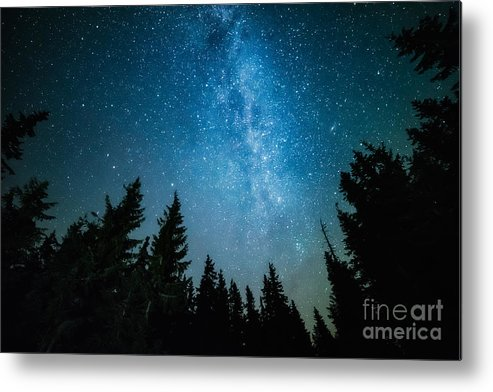 Magic Metal Print featuring the photograph The Milky Way Rises Over The Pine Trees by Andrey Prokhorov