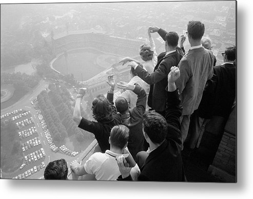 Timeincown Metal Print featuring the photograph Univ. Of Pittsburgh Students Cheering Wi by George Silk