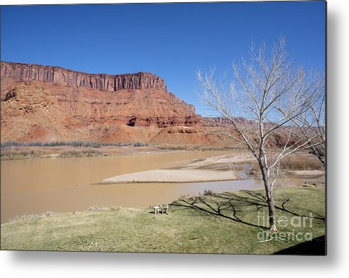 Colorado River Metal Print featuring the photograph View From A Cabin At Sorrel River Ranch On The Colorado River Ne by William Kuta