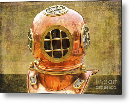 Vintage Metal Print featuring the photograph Vintage Diving Helmet by Nina Silver