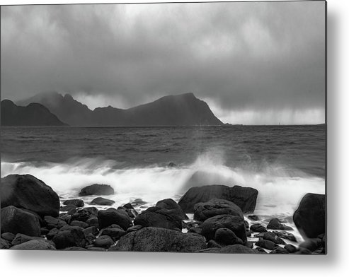 Bay Of Water Metal Print featuring the photograph Water Hits The Coastline During Storm by Kai Mueller