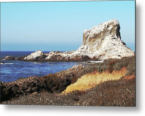 San Simeon Metal Print featuring the photograph The White Rocks Of Piedras Blancas by Art Block Collections