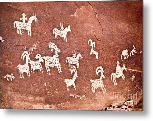 Petroglypths Metal Print featuring the photograph Wolfe Ranch Petroglyphs by Delphimages Photo Creations