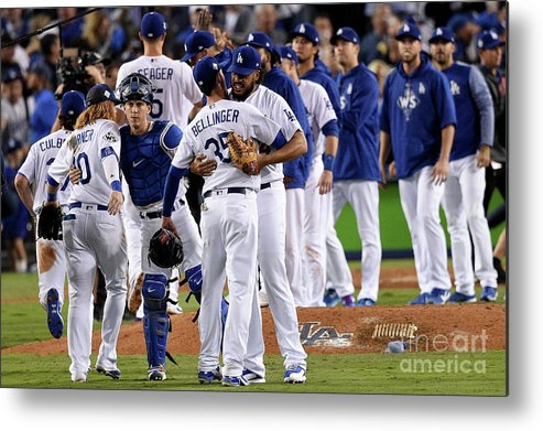 People Metal Print featuring the photograph World Series - Houston Astros V Los by Kevork Djansezian
