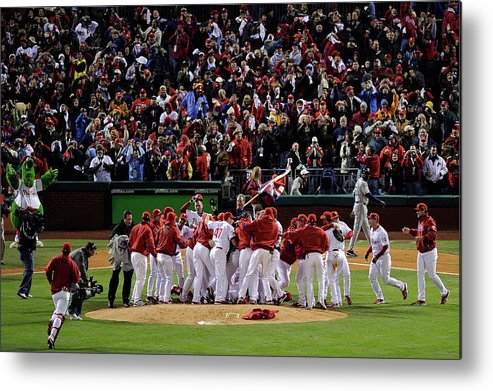 Celebration Metal Print featuring the photograph World Series Tampa Bay Rays V by Jeff Zelevansky