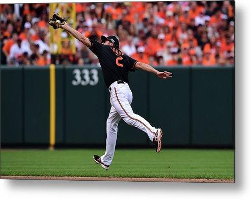 Game Two Metal Print featuring the photograph J. J. Hardy by Patrick Smith