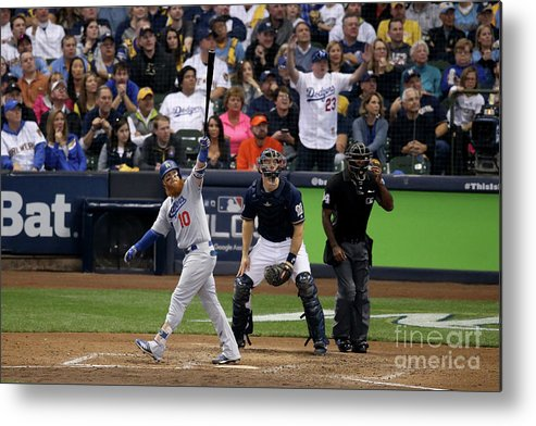 Game Two Metal Print featuring the photograph Justin Turner And Jeremy Jeffress by Dylan Buell