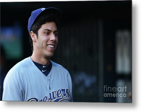 People Metal Print featuring the photograph Christian Yelich by Mike Stobe