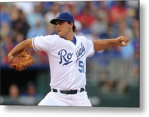 American League Baseball Metal Print featuring the photograph Jason Vargas by Ed Zurga