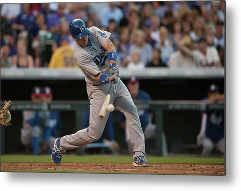 Los Angeles Dodgers Metal Print featuring the photograph A. J. Ellis by Dustin Bradford