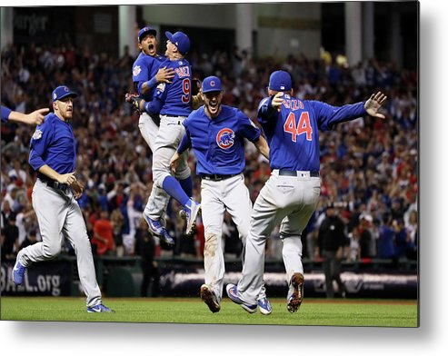 People Metal Print featuring the photograph Addison Russell, Kris Bryant, And Javier Baez by Ezra Shaw