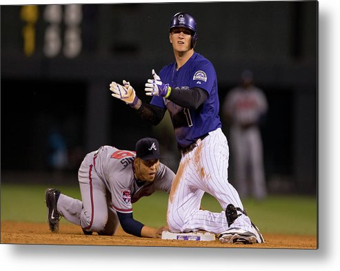 Celebration Metal Print featuring the photograph Andrelton Simmons And Brandon Barnes by Justin Edmonds