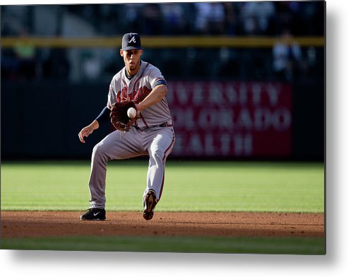 Ball Metal Print featuring the photograph Andrelton Simmons And Drew Stubbs by Justin Edmonds