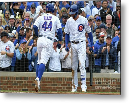 American League Baseball Metal Print featuring the photograph Anthony Rizzo And Kris Bryant by David Durochik
