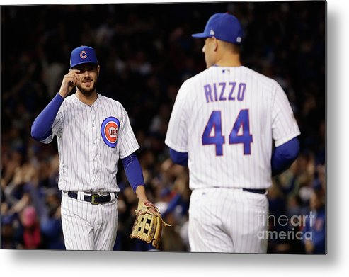 Three Quarter Length Metal Print featuring the photograph Anthony Rizzo And Kris Bryant by Jamie Squire