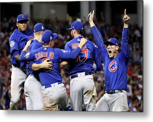 Three Quarter Length Metal Print featuring the photograph Anthony Rizzo, Kris Bryant, And Chris Coghlan by Ezra Shaw