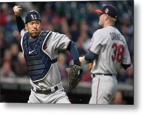 Baseball Catcher Metal Print featuring the photograph Asdrubal Cabrera And Kurt Suzuki by Jason Miller