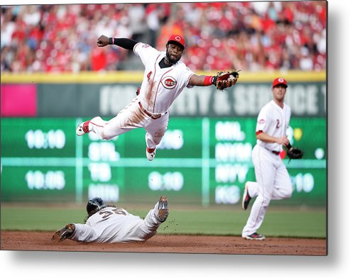 Great American Ball Park Metal Print featuring the photograph Brandon Crawford And Brandon Phillips by Joe Robbins