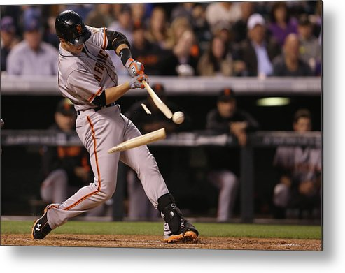 Double Play Metal Print featuring the photograph Buster Posey by Doug Pensinger