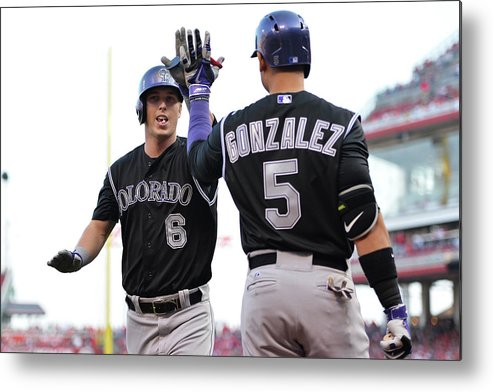 Great American Ball Park Metal Print featuring the photograph Carlos Gonzalez And Corey Dickerson by Jamie Sabau
