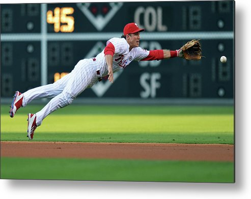 Ball Metal Print featuring the photograph Chase Utley by Drew Hallowell