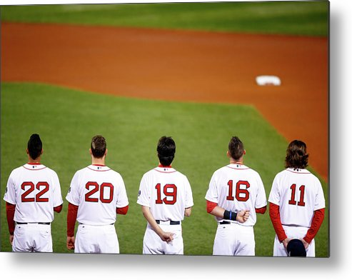 American League Baseball Metal Print featuring the photograph Clay Buchholz, Will Middlebrooks, And Koji Uehara by Jared Wickerham