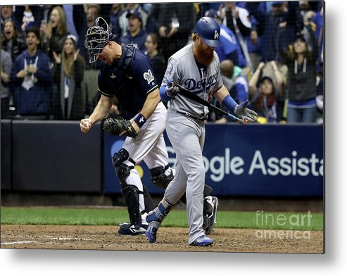 People Metal Print featuring the photograph Corey Knebel, Justin Turner, And Erik Kratz by Rob Carr