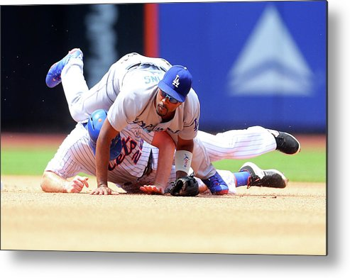 Double Play Metal Print featuring the photograph Daniel Murphy And Jimmy Rollins by Mike Stobe