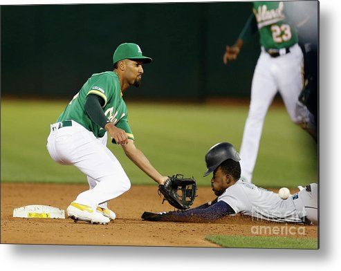 People Metal Print featuring the photograph Dee Gordon And Marcus Semien by Lachlan Cunningham
