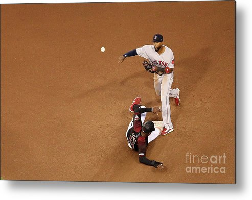 People Metal Print featuring the photograph Eduardo Nunez And Adam Jones by Christian Petersen