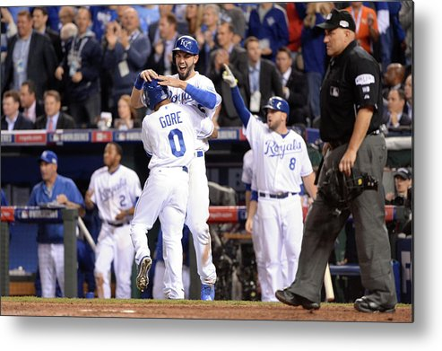 Playoffs Metal Print featuring the photograph Eric Hosmer And Terrance Gore by Ron Vesely