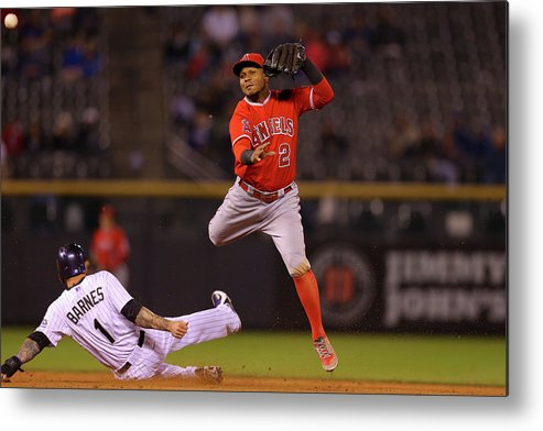 Double Play Metal Print featuring the photograph Erick Aybar And Brandon Barnes by Justin Edmonds