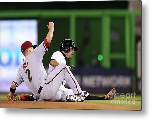 People Metal Print featuring the photograph Ichiro Suzuki And Aaron Hill by Rob Foldy