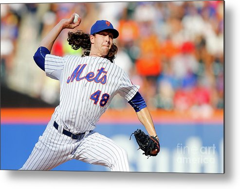 Jacob Degrom Metal Print featuring the photograph Jacob Degrom by Jim Mcisaac