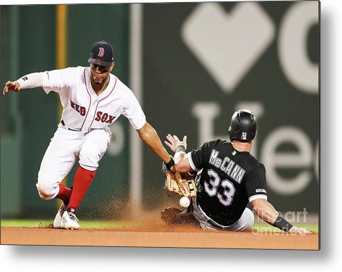 People Metal Print featuring the photograph James Mccann And Xander Bogaerts by Adam Glanzman