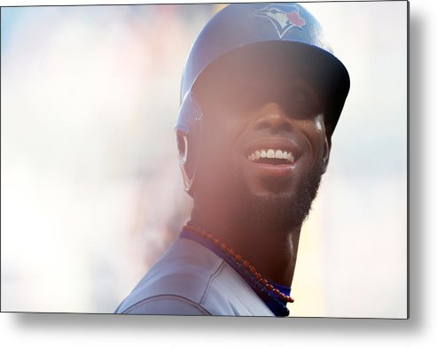 American League Baseball Metal Print featuring the photograph Jose Reyes by Mike Stobe