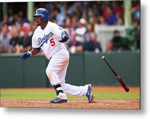 Los Angeles Dodgers Metal Print featuring the photograph Juan Uribe by Brendon Thorne