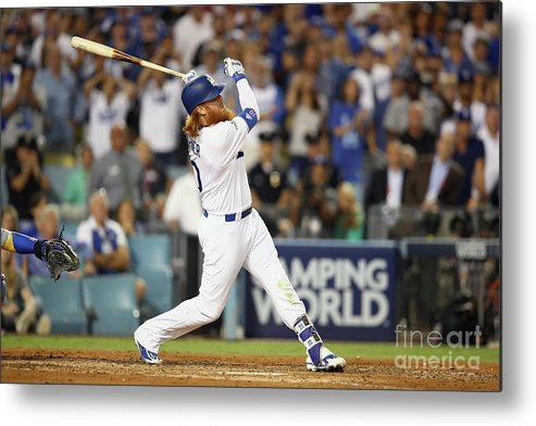 Game Two Metal Print featuring the photograph Justin Turner by Ezra Shaw
