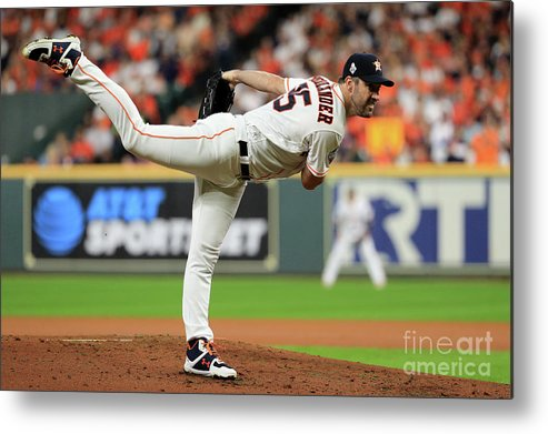 American League Baseball Metal Print featuring the photograph Justin Verlander by Mike Ehrmann