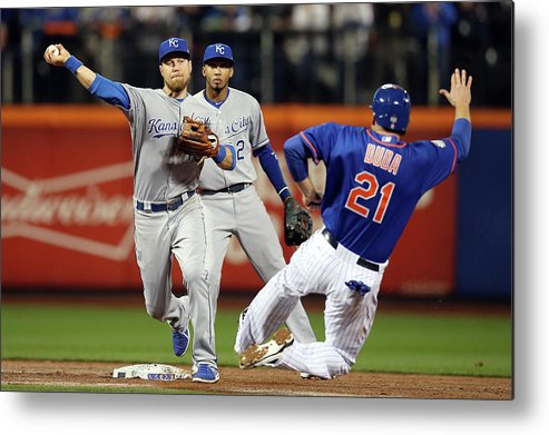 Playoffs Metal Print featuring the photograph Lucas Duda And Ben Zobrist by Brad Mangin