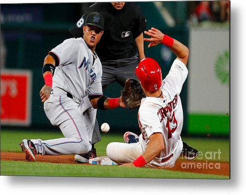 People Metal Print featuring the photograph Matt Carpenter And Starlin Castro by Dilip Vishwanat