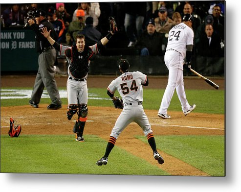 American League Baseball Metal Print featuring the photograph Miguel Cabrera, Sergio Romo, And Buster Posey by Leon Halip