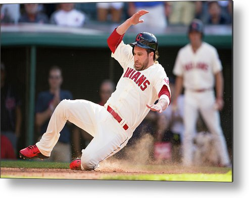 American League Baseball Metal Print featuring the photograph Mike Aviles And Jason Kipnis by Jason Miller