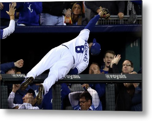 People Metal Print featuring the photograph Mike Moustakas And Adam Jones by Ed Zurga
